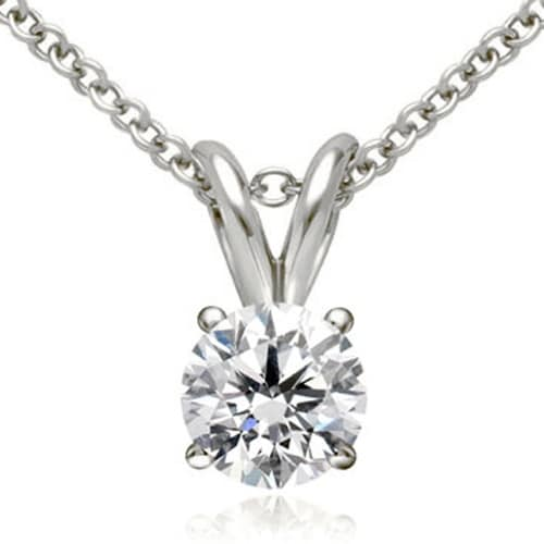 1.00 cttw. 14K White Gold Round Cut Diamond 4-Prong Basket Solitaire Pendant
