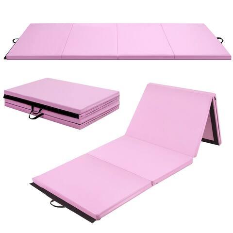 4'x10'x2'' Gymnastics Mat Thick Folding Panel Aerobics Gym Pink