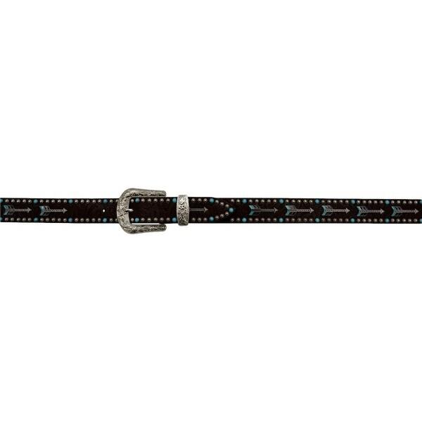 Angel Ranch Western Belt Womens Arrow Conchos Beads Dark Brown