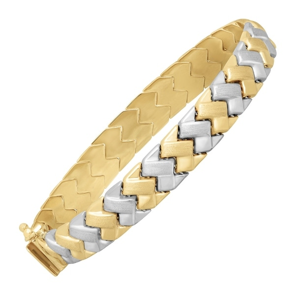 Just Gold Zigzag Link Bracelet in 14K White & Yellow Gold - Two-tone