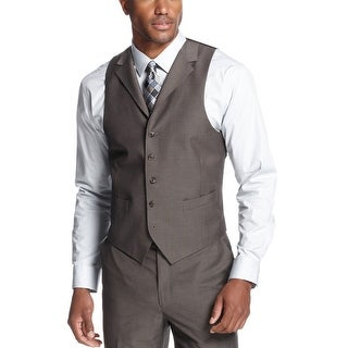 Sean John Brown Pindot Lapel Vest Classic Fit - Suit Separates