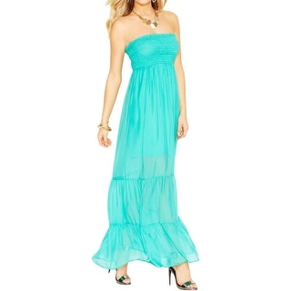 Guess Womens Juniors Maxi Dress Silk Strapless