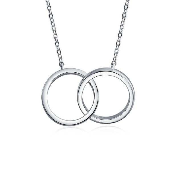 3a17e32e58519 2 Circle Interlocking Infinity Eternity Necklace Mother Daughter Couples  Eternal Necklace For Women Sterling Silver