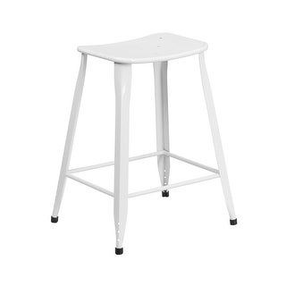 Offex 24'' High White Metal Indoor-Outdoor Counter Height Saddle Comfort Stool