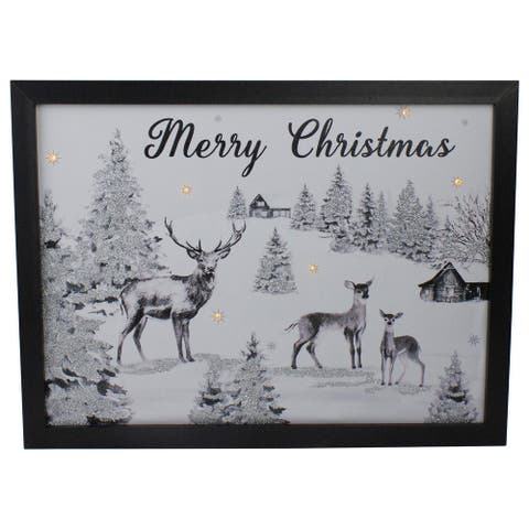 """Lighted Black and White Winter Scene Merry Christmas Canvas Wall Art 11.75"""" x 15.75"""""""