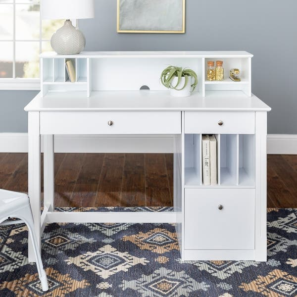 Shop 48 Inch White Computer Storage Desk With Small Hutch Overstock 4835659