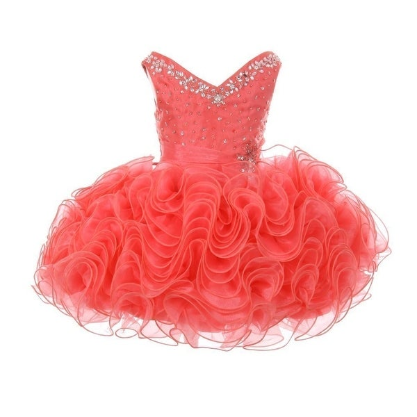 4aac49e3ff Shop RainKids Little Girls Coral Beading Ruffle Organza Short Pageant Dress  - Free Shipping Today - Overstock - 20606868