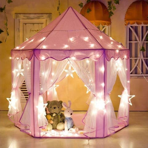 "Global Pronex Tents for Girls, Princess Castle Large Outdoor Kids Play House Pink Birthday Gift with LED Star Lights - 55""x 53"""