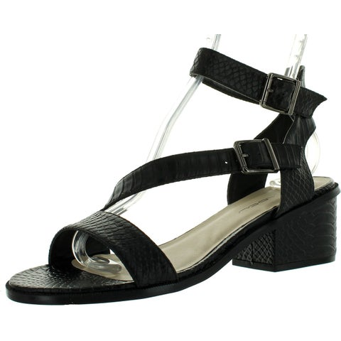 C Label Whitty-1 Womens Ankle Strap Crocodile Chunky Heel Buckle Dress Sandals