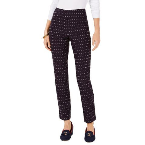 "Charter Club Women's Cambridge Floral-Print Tummy-Control Pants Black Size 4' - 4"""