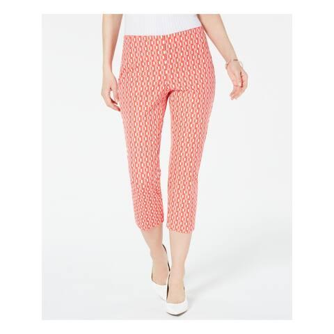 ALFANI Womens Coral Geometric Cropped Pants Size 10
