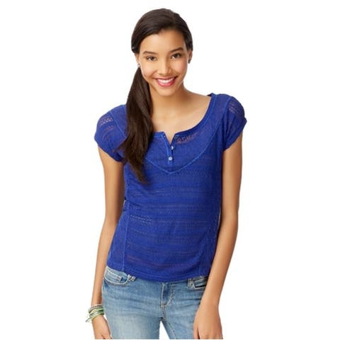 Aeropostale Womens Sheer Mixed Knit Henley Sweater
