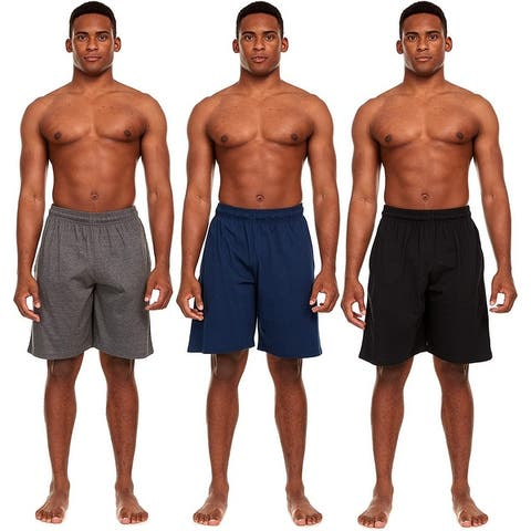 Essential Elements 3 Pack: Men's 100% Cotton Sleep Lounge Casual Sleep Pajama Bottoms Shorts with Pockets
