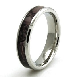 Stainless Steel Camouflage Wedding Band 5mm Width