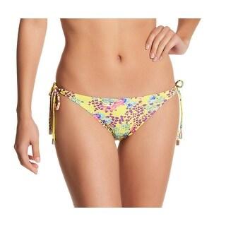 Vix NEW Yellow Womens Size Large L Lola Long-Tie Floral Bikini Bottom