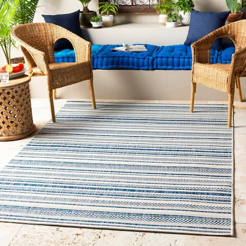 Rikard Indoor/ Outdoor Coastal Stripe Area Rug