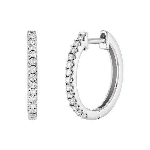 Welry '1/10 cttw Diamond 15 mm Hoop Earrings' in Sterling Silver
