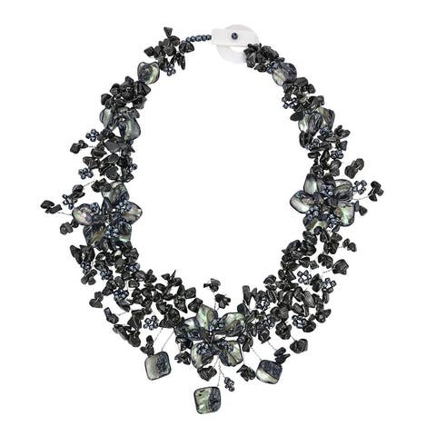 Handmade Exotic Dark Garden Back Onyx Shell and Bead Floral Statement Necklace (Thailand)