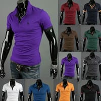 Mens Casual Tops Tee V Neck Polo Shirts Slim Fit Short Sleeve M-2XL