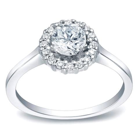 Auriya 14k Gold Round Halo Moissanite Engagement Ring 9/10ctw