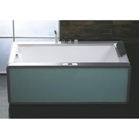 """Eago AM151ETL-L 35-1/2"""" Soaking Bathtub for Free Standing Installations with Left Drain and MaxLoad - White"""
