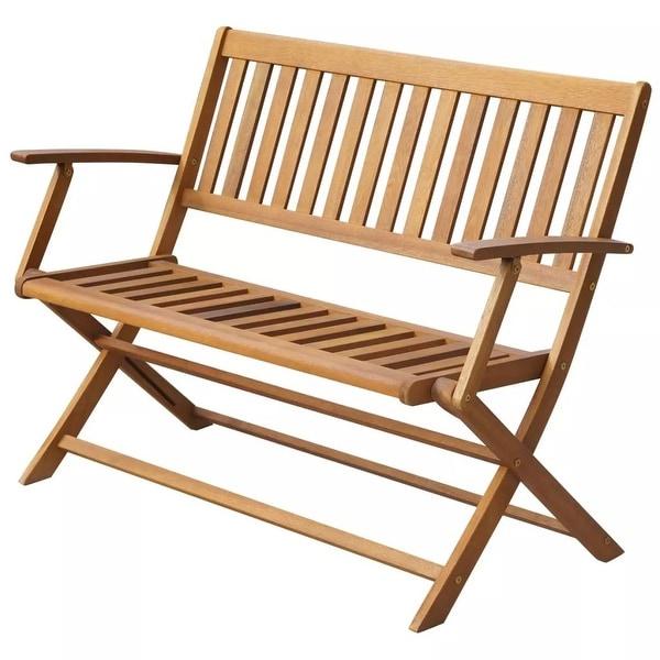 Shop Vidaxl Folding Solid Acacia Wood Garden Bench Outdoor