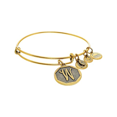 "Alex And Ani Women's W Initial Bracelet Bangle - 7"" - Gold"