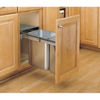 Rev-A-Shelf 8-785-30-DM2SS 8-785 Series Top Mount Double Bin Trash Can - 10.5 Quart and 21 Quart Bin Capacity