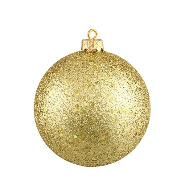 "Vegas Gold Holographic Glitter Shatterproof Christmas Ball Ornament 4"" (100mm)"