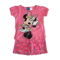 Disney Little Girls Pink Minnie Mouse Print T-Shirt 2 Pc Shorts Outfit