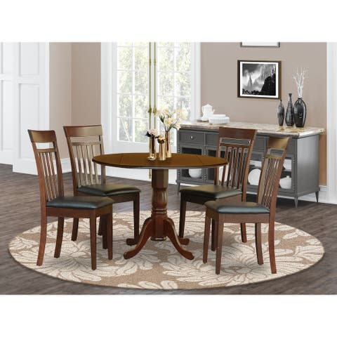 Mahogany Small Table Plus 4 Kitchen Chairs 5-piece Dining Set (Finish Option)