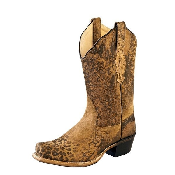 Old West Cowboy Boots Womens Leather Leopard Square Toe Brown