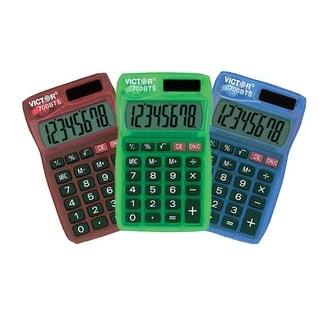 Victor 700BTS 8-Digit Solar/Battery Pocket Calculator, Assorted Translucent Colors
