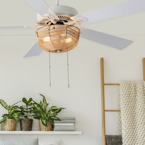 """Dylan River of Goods White Metal and Rattan 52-inch 2-Light Ceiling Fan - 52"""" x 52"""" x 13.75""""/18.75"""""""