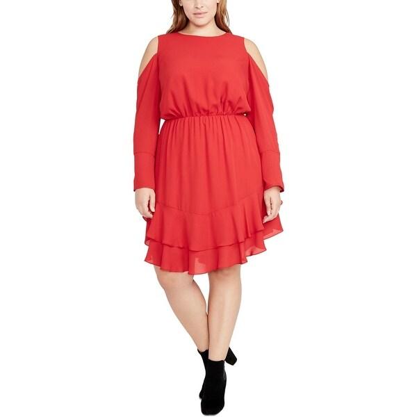 Rachel Rachel Roy Womens Plus Special Occasion Dress Tiered Cold Shoulder