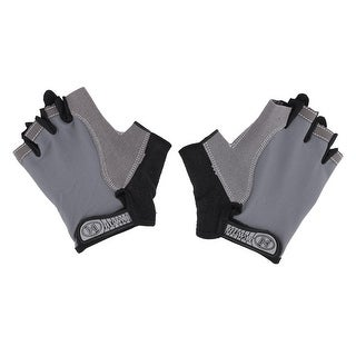 Outdoor Motorcycle Sport Anti Skid Half Finger Protector Gloves Gray M Size Pair