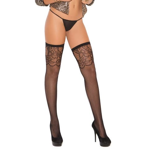 Plus Size Scroll Top Fishnet Thigh Highs - Black - Queen Size