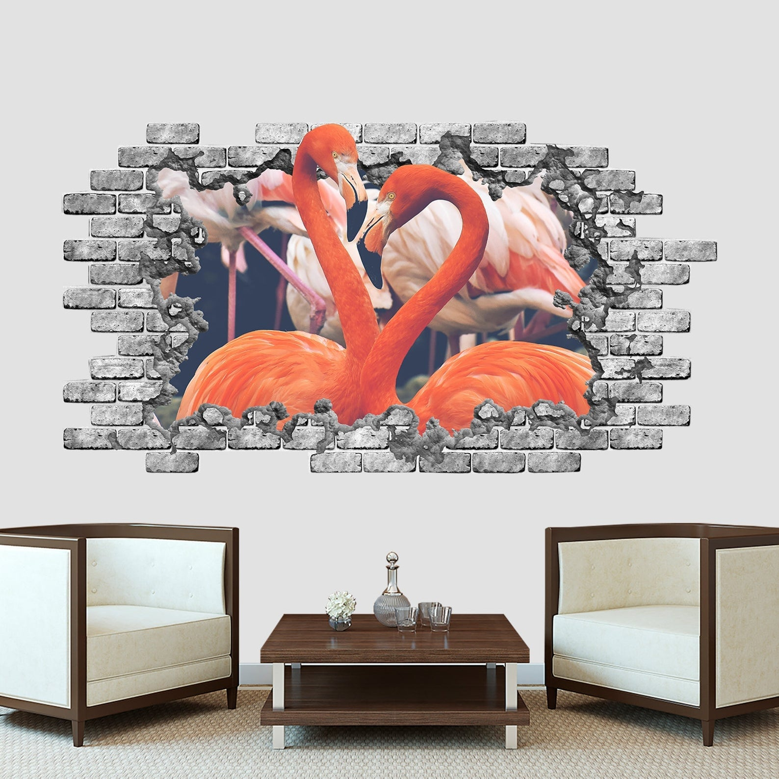 Pink Flamingo 3d Wall Decal Hole In The Brick Wall Overstock 32203505