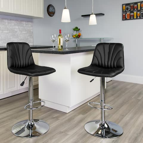 """Contemporary Vinyl Adjustable Barstool with Embellished Stitch Design - 17.5""""W x 21""""D x 37"""" - 45.5""""H"""
