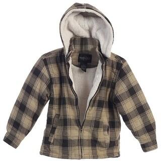 Boys Brown Squares Sherpa Lining Detachable Hood Flannel Jacket 8-16