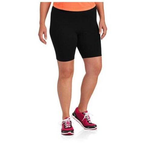 Danskin Deep Black Womens Size 3X Plus Solid Pull-On Bike Shorts