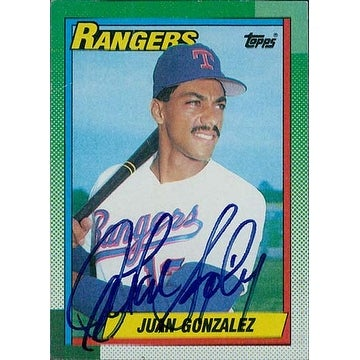 Signed Gonzalez Juan Texas Rangers 1990 Topps Baseball Card Creases In Card Autographed