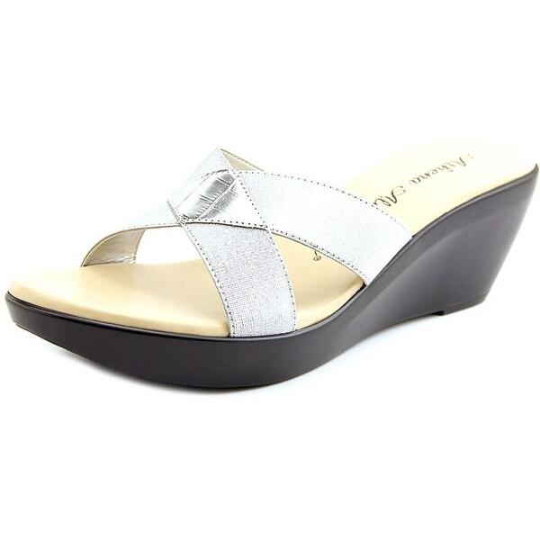 Athena Alexander Benadet Women Open Toe Canvas Silver Slides Sandal