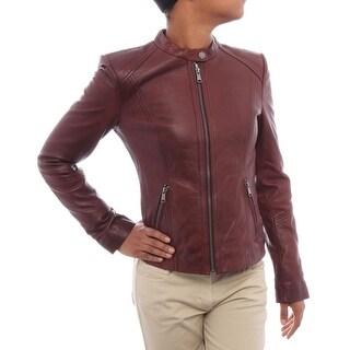 Andrew Marc Morgan Leather Jacket Basic Jacket Oxblood