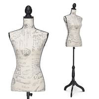 Costway Height Adjustable Female Mannequin Torso Dress Form Display w/Black Tripod Stand - as pic