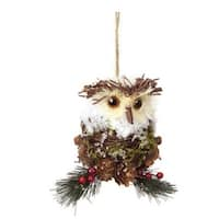 "5.5"" Modern Lodge Iced Pine, Cone and Twig Rustic Owl Christmas Ornament"