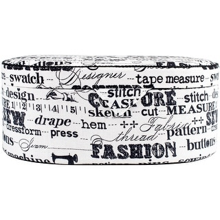 "Sewing Basket Oval-9""X6.25""X3.625"" Black On Cream Print"