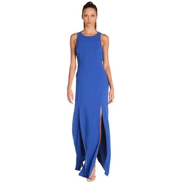 e9cdf3e3217ea8 Halston Heritage Cutout Front Slit Sleeveless Evening Gown Dress Royal Blue  - 8