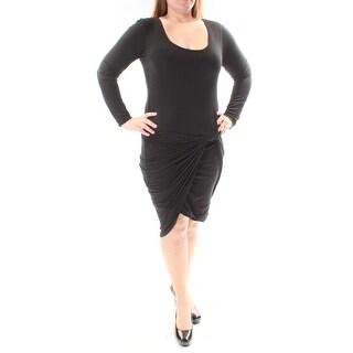 Womens Black Long Sleeve Below The Knee Body Con Dress Size: XL