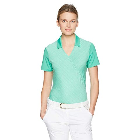 adidas Golf Women's Crossover Novelty Short Sleeve, Hi-Res Green, Size Large